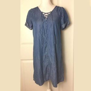 Lucky Brand Chambray Lace Up Dress